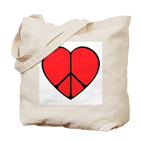 Peace Sign Heart Tote Bag