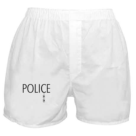 Police SILVER K-9 Dog Tags Boxer Shorts