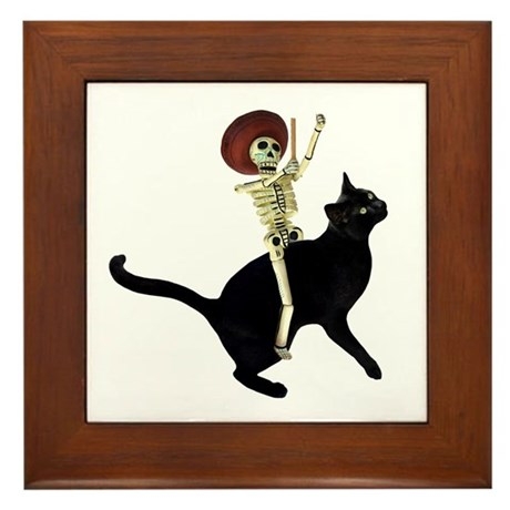 Skeleton on Cat Framed Tile