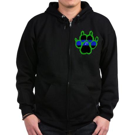 Green Paw Print 2* Zip Hoodie (dark)