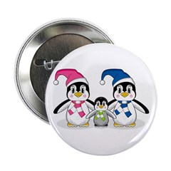 "Cute Penguin Family 2.25"" Button"