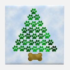 Dog's Christmas Tree Tile Coaster
