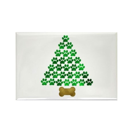 Dog's Christmas Tree Rectangle Magnet (10 pack)