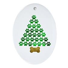 Dog's Christmas Tree Ornament (Oval)