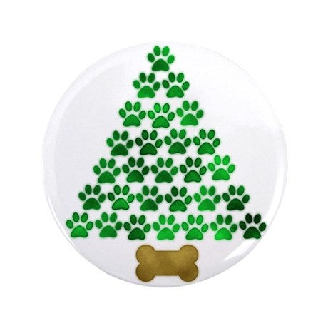 """Dog's Christmas Tree 3.5"""" Button (100 pack)"""