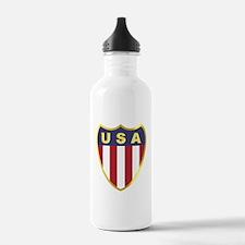 USA Flag Shield Water Bottle