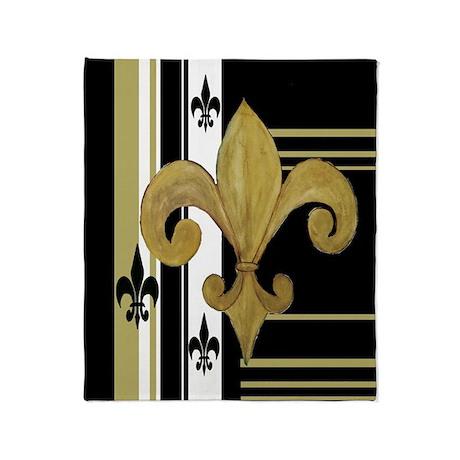 Gold and multi black fleur de Throw Blanket