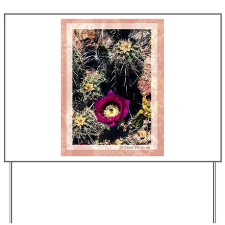 Barrel Cactus Flower Yard Sign