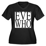 1001. EVE WHO Women's Plus Size V-Neck Dark T-Shir