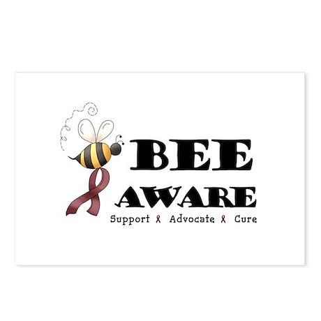 Bee Aware - Burgundy Postcards (Package of 8)