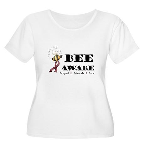 Bee Aware - Burgundy Women's Plus Size Scoop Neck