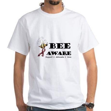 Bee Aware - Burgundy White T-Shirt