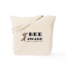 Bee Aware - Burgundy Tote Bag