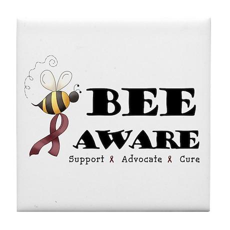 Bee Aware - Burgundy Tile Coaster