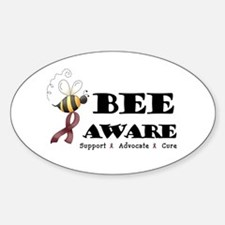 Bee Aware - Burgundy Sticker (Oval)