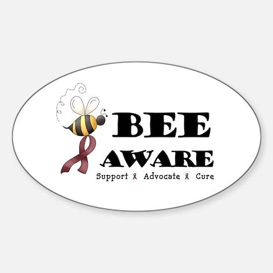 Bee Aware - Burgundy Sticker (Oval)