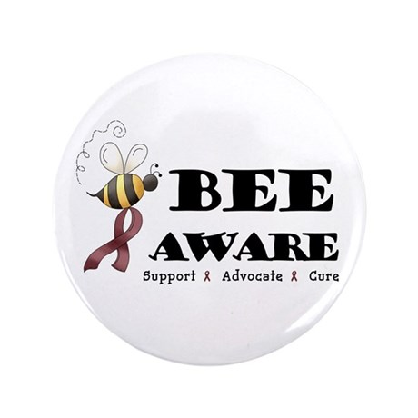 "Bee Aware - Burgundy 3.5"" Button"