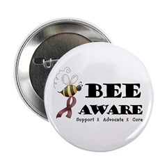 "Bee Aware - Burgundy 2.25"" Button"