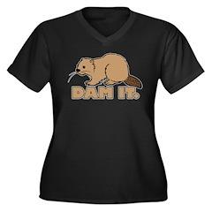 Dam It. Women's Plus Size V-Neck Dark T-Shirt