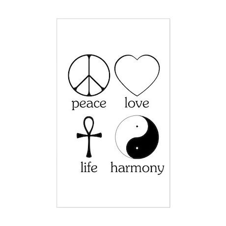 Peace Love Life Harmony Sticker (Rectangle)
