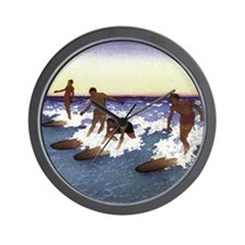 Waikiki Surfers Wall Clock