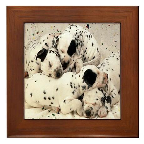 DALMATION PUPPY PILE Framed Tile