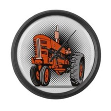 vintage farm tractor Large Wall Clock