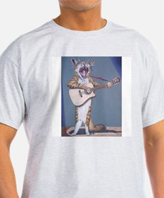 Folk Singer/Guitar Player Cat Ash Grey T-Shirt
