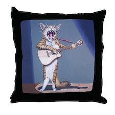 Folk Singer/Guitar Player Cat Throw Pillow