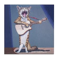 Folk Singer/Guitar Player Cat Tile Coaster