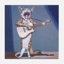 Folk Singer/Guitar Player Cat Tile Coaster