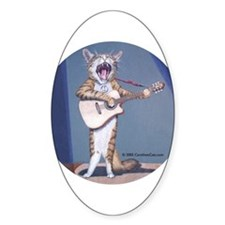 Folk Singer/Guitar Player Cat Oval Decal