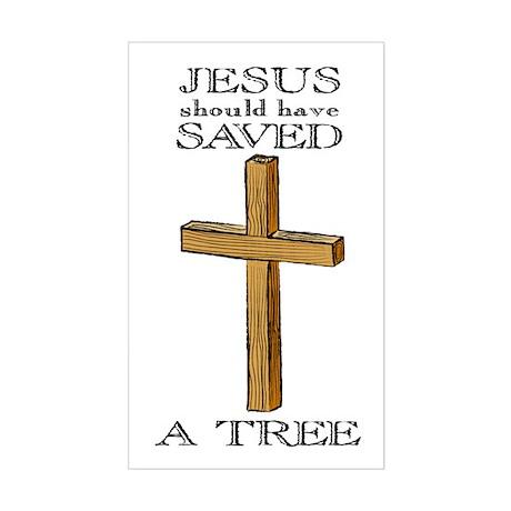 Jesus Saved, Atheist Rectangle Sticker