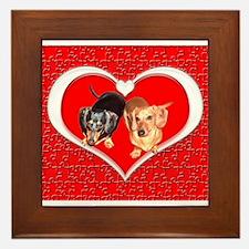 Love Dachshund Dogs Framed Tile