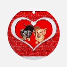Love Dachshund Dogs Ornament (Round)