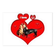 I Love You Dachshunds Dogs Postcards (Package of 8