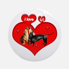 I Love You Dachshunds Dogs Ornament (Round)