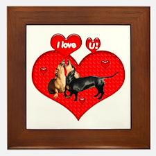 I Love You Dachshunds Dogs Framed Tile