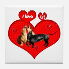 I Love You Dachshunds Dogs Tile Coaster
