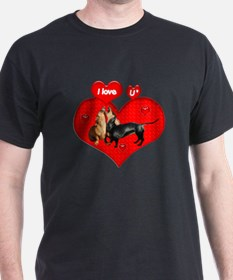 I Love You Dachshunds Dogs Black T-Shirt