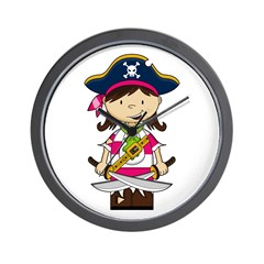Cute Pirate Girl Wall Clock