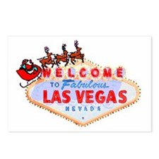 Santa & Reindeers on LV Sign Postcards (Pkg of 8)