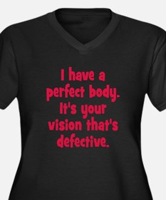 Perfect Body Women's Plus Size V-Neck Dark T-Shirt