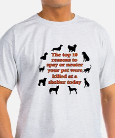 The top 10 reasons to spay or T-Shirt