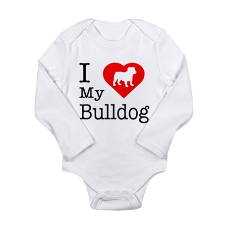 I Love My Bulldog Long Sleeve Infant Bodysuit