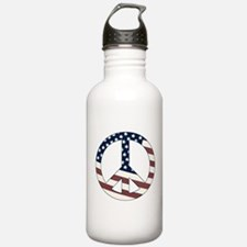 US Flag-Peace Sign-vintage lo Water Bottle