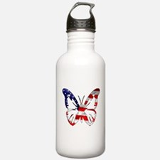 Butterfly-US Flag- Water Bottle