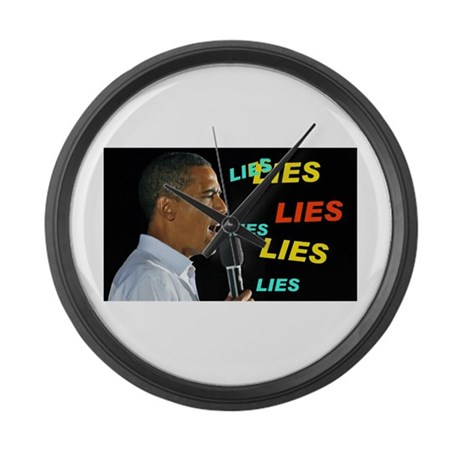 HE'S LYING AGAIN Large Wall Clock
