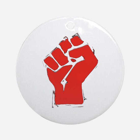 Raised Fist Ornament (Round)