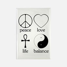 Peace Love Life Balance Rectangle Magnet